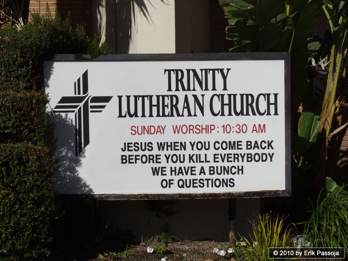 second coming Jesus church sign