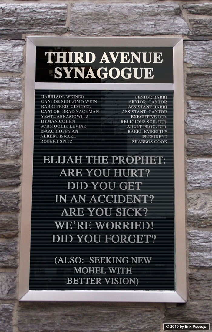 Elijah the Prophet synagogue sign