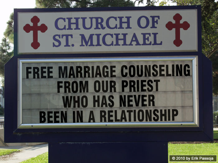 priest marriage counseling church sign