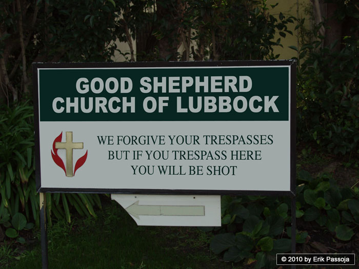 good shepherd church sign trespass trespassing