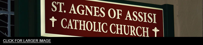 St. Agnes Communion Wine church sign
