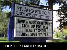 confession st. augustine church sign