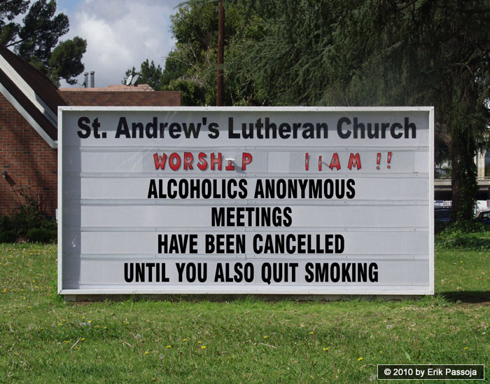 alcoholics anonymous church sign